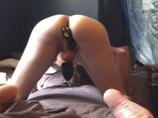 Boy cums 3 times with two vibrators!