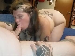 Pigtaled Wife Sucks & Fucks