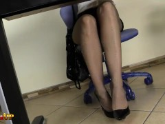 Redhead secretary in pantyhose masturbates with her magic wand