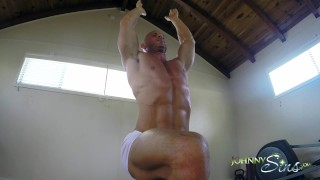 Preview 3 of Johnny Sins Jerks Off While doing Yoga