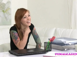 FemaleAgent Tattooed emo licks agent to orgasm