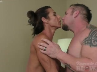 Muscular Briana Beau Sucks Cock