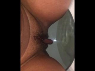 Horny slut take a piss