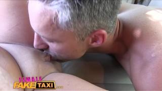 FemaleFakeTaxi Busty sexy driver milks studs cock