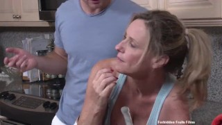 Stuck   huge ass big tits cumshot shaved tight mother orgasm doggystyle kitchen rough sex fake tits forbiddenfruitfilms huge tits