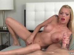 Naked slut jerks off her boyfriend