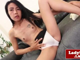 Ladyboy beauty Nug strips and jerks her cock