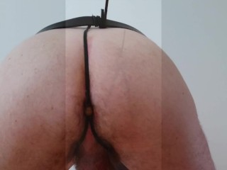 Homemade leather and wooden anal beads - male underwear full striptease