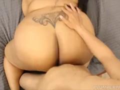 Ebony SSBBW Cotton Candi Slurps and Sucks on Latino Stud