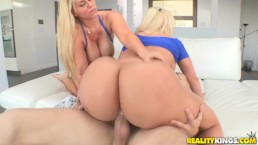 Reality Kings - Two hot blondes share cock