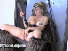 : Naughty army girl Tinkerbell fucks her pussy and ass with big hard bullets