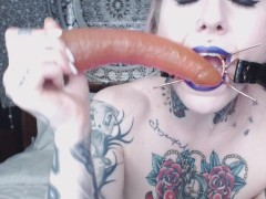 tattooed sloppy deepthroat with spider gag and lots of drool