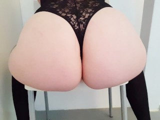 Sexy goth girl wiggles her white bubblebutt over a chair