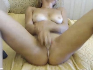 Solo blonde toying her ass then pussy with vibrator