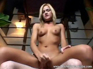 Skinny Blonde Teen Jerk Job