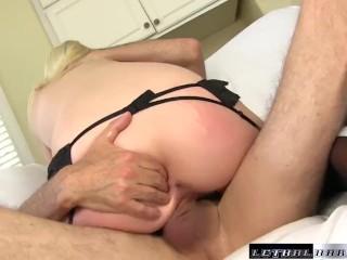 Horny Roxy Nicole wears moms lingerie and fucks hard dick