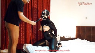 Black latex slut with ring gag deepthroating cock, dildo and fucked hard throated rough hard bondage fuck spitting in mouth throat fuck kink dildo deepthroat latex ring gag deepthroat latex hard fuck black latex bdsm hard bondage latex mask skull fuck ring gag blowjob