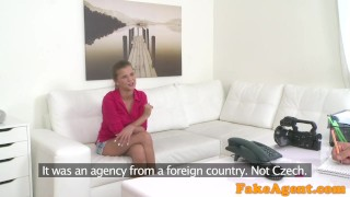 FakeAgent Hot brunette model in white panties sucks dick for top job  white panties homemade audition amateur cumshot pov model couch real sex on couch fakeagent interview oral sex office sex