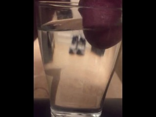 spunkdude72 cumming slowly in a glass of water