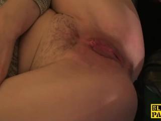 English sub slut footfucked and dominated