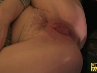 English sub slut footfucked and dominated