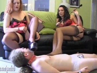 Milf femdoms turn sissy slave into high heel and fully fashioned nylon slut