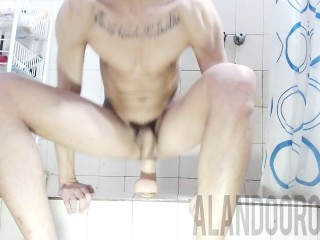 ALAN DO ORO riding different size of dildos in the shower