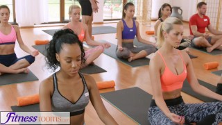 FitnessRooms Groups yoga session ends with a sweaty creampie  bisexual fitnessrooms 3some babes yoga porn yoga threesome sex in yoga creampies oal sex teen yoga pants yoga