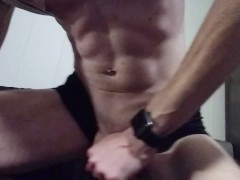 Muscle twink rubbing his cock and jacking his meat