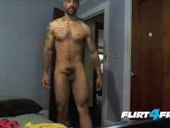 Tatted and Toned Samir Hott Puts His Big Cock to Work
