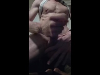 Twink muscle boy jacking thick cock stroking cut dick