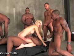 Interracial Anal Gangbang on blonde Ashley Fires