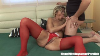 Preview 1 of Napping Mature In Red Stockings Fucked By Stepson