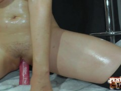 Penny Pax Pours Some Oil On Her Big Tits & Stuffs Her Pussy With Dildo!