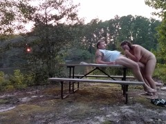 Milf Becky Tailor gets plowed on a picnic table down by the river…