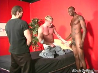 Hot blonde guy gets assfucked by blacks