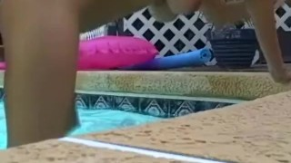 Sex Pool Fun for Couple  big natural tits tits homemade outside sexy pool mom busty girlfriend mother all natural gf sexxybrandon