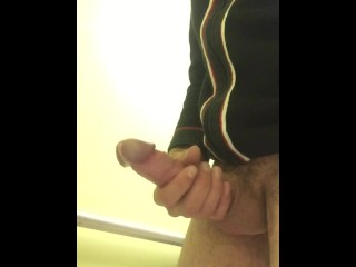 Playing with my monster cock in public bathroom