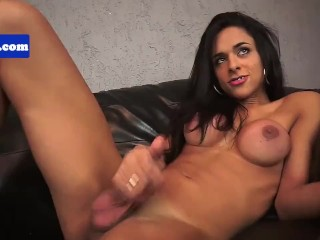 Bigtitted latina tgirl playing with her dick