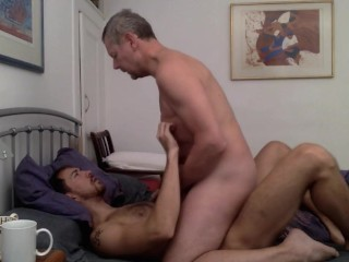 Dad and Son Taking Turns
