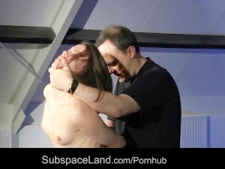 Petite slave blindfolded punishment swallows cumshot for bondage mercy