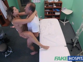 FakeHospital Petite Euro patient orgasms pussy juice over doctors desk