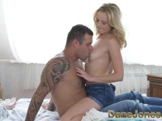 DaneJones Beautiful slim blonde worships boyfriend and his big fat cock