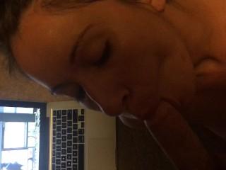 Homemade Trailer sloppy blow job Brunette rubbing wet pussy~~