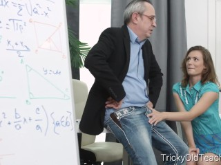 Tricky Old Teacher - Slutty student has sex with horny teacher