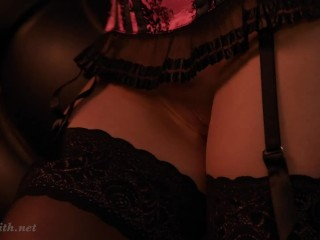 Jeny Smith Stockings and Corset behind the scenes