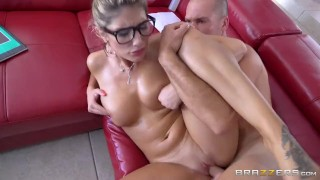 Brazzers - Sexy nerd August Ames needs a study break young blowjob teen huge-cock shaved tight fingering glasses big-boobs big-dick brazzers nerd oiled spit booty teenager