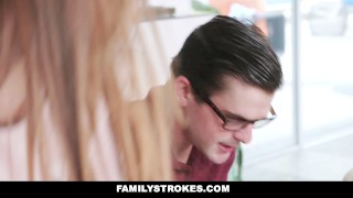 FamilyStrokes - Nerdy Step-Bro Fucked Me For Homework  step sis cumshot hardcore brunette familystrokes shaved bigcock facialize facial doggystyle step brother step sibling avery adair seduce smallttis step sister