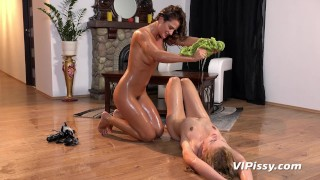 Lesbians Desperate To Pee While Fucking With Strapon During Yoga Session  clit rubbing big tits strapon pissing blonde squirting lesbian brunette peeing orgasm adult toys girl on girl sex toy
