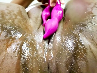 Fucking My Oozing Ass And Pussy - I Tried Anal And Squirted In Laundry Room